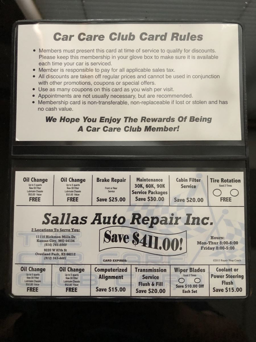 Car Care Club Card | Sallas Auto Repair